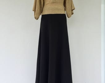 Vintage 70s Maxi Skirt, Long Black Skirt, Vintage Black Skirt, Retro, Hipster, 70s Black Skirt, Size 10