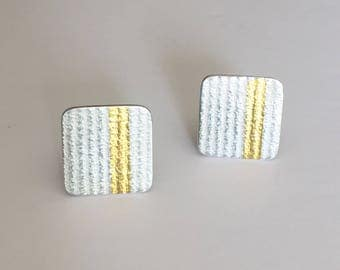 Handcrafted cuff links in Fine silver and 24ct gold foil