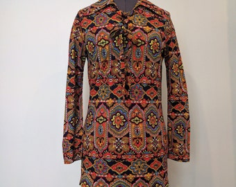 Vintage 1960's Multi Colored Patterned 100% Texturized Polyester GoGo Dress or Disco Blouse