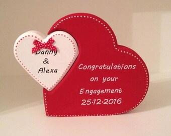 Personalised Engagement present, Freestanding Interlocking hearts
