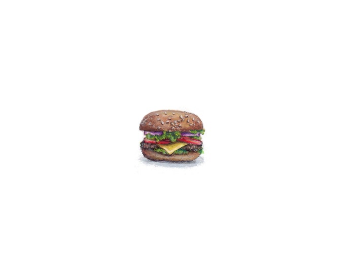 Original Miniature painting of a Hamburger tiny painting, Hamburger tiny art 5 x 5