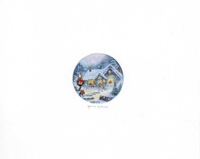 Original Miniature painting of a Snowy Christmas Night. Tiny painting, Winter Christmas Scene art 5 x 5