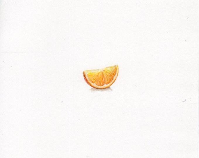 "Print of miniature painting of an Orange Slice. 1 1/4"" x 1 1/4"" print of original Orange Slice painting on 5"" square german etching paper"