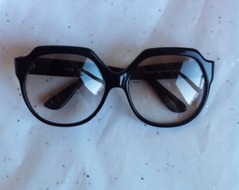Emmanuelle Khanh black sunglasses early 80s rare shape EK logo