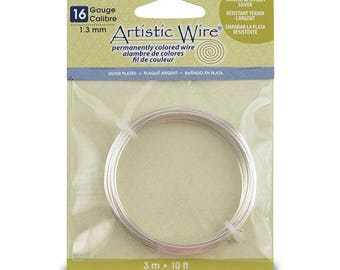 Beadalon Artistic Wire, 16 Gauge (1.3 mm), Tarnish Resistant Silver, 10 ft (3.1 m)