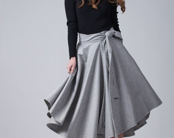 Grey wool woman's skirt / Wrap high waist skirt / Big bow tie skirt / Woman's fashion grey skirt / Knee length skirt / Fasada 16142