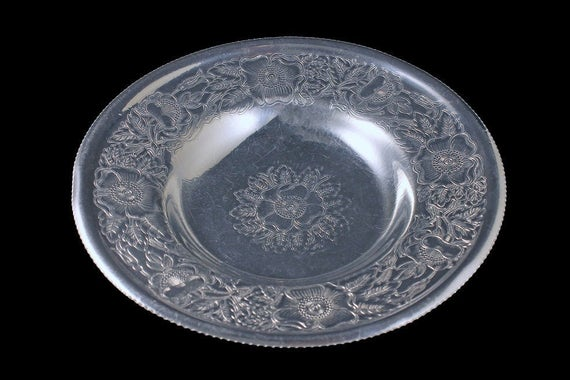 Hand Wrought Aluminum Tray, Wilson Specialty Co., Brooklyn NY, Floral Design, Aluminum Bowl, Embossed, Centerpiece