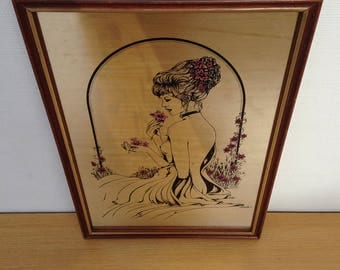 Mirror old woman drawing signed Vintage DAVIES