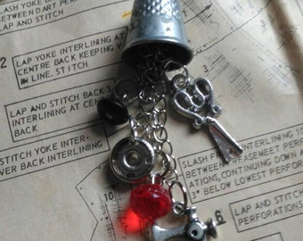 Thimble, sewing themed necklace