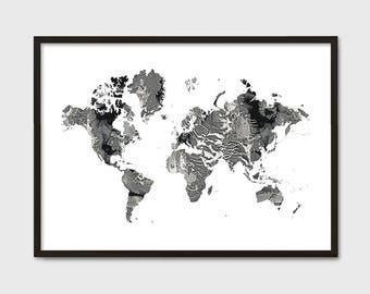 World map poster etsy world map poster marble large world map affiche scandinave travel dcor bohemian gumiabroncs Choice Image