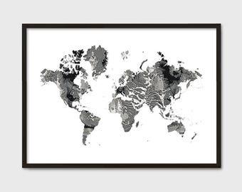 World Map Poster Etsy - Black map world