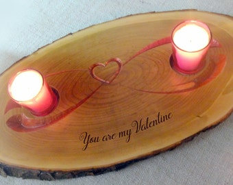 wooden candle tray,  live edge candle tray