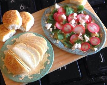Dollhouse miniature summer salad,handmade dollhouse food ,one inch scale ,dollhouse breads
