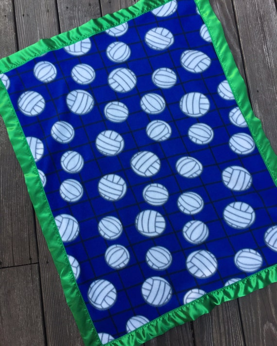 Blue Volleyball Fleece Blanket With Green Satin Binding