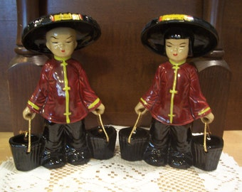 Asian Water Carrier Couple Figurines