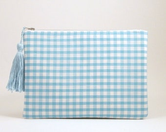 Gingham Clutch Bag Wristlet, blue gingham check zip pouch