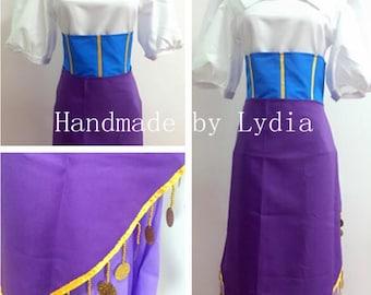 Handmade - Esmeralda Costume, Esmeralda Cosplay Costume, Esmeralda Dress