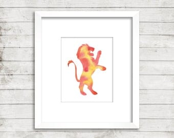 Gryffindor. Harry Potter. Hogwarts House. Minimal. Watercolor. Art Print. Office Décor. Nursery Décor.