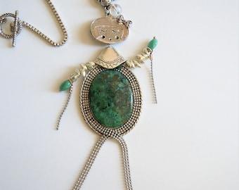 "Doll ""Cassie"" chrysocolla stone silver pendant necklace."