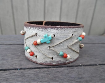 Ivory Painted Turquoise Leaves Cross Beaded Hemp Arrows Upcycled Leather Cuff Bracelet
