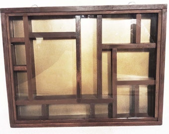 Vintage Large Wood Display Case Curio Cabinet 15 Compartments