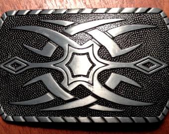 Maori Tattoo Black Silver Belt Buckle