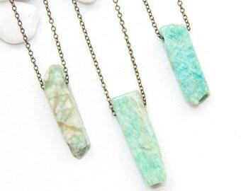 Light Blue Gemstone Necklace, Amazonite Necklace, Mother's Day Gift, Raw Stone Necklace, Light Blue Stone Necklace, Geometric Stone Necklace