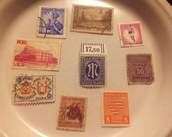 Nine vintage international postage stamps: Peru, Africa, Italy, Argentina and more