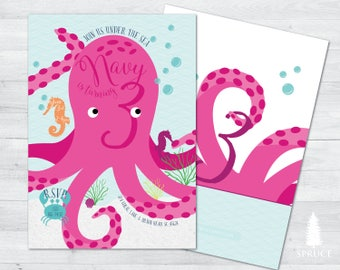 under the sea birthday invitation, under the sea invitation, octopus invitation, ocean invitation, sea creatures, under the sea party