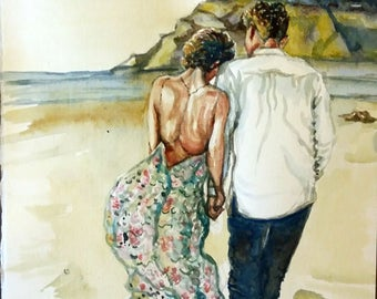 "Original watercolor painting, A Romantic Walk, 10""x8"", 1704116"