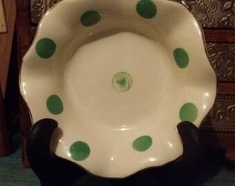 Empire Shelton Ivory , 'Gaiety'china dish, vintage,  polka dot,  round dish