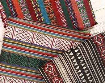 Stripy Bohemian Fabric, Upholstery fabric, Tribal Fabric Ethnic Fabric Aztec Fabric BOHO Style Tablecloth Fabric  - 1/2 yard