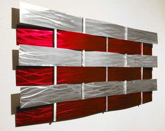 """Modern Abstract Metal Wall Art Sculpture Painting - Red """"Wall Weave"""" by Dustin Miller"""