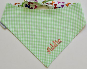 Green Personalized Gingham Bandana    Reversible Dog Bones Southern Classic Tie Pet Scarf    Puppy Gift by Three Spoiled Dogs