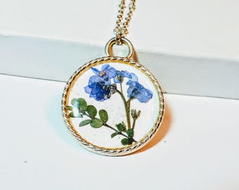 Forget me not necklace - Alaska flower-Real Flower necklace -Pressed Flower keychain - dried real flower jewelry