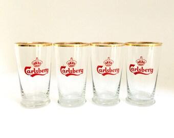 Vintage Carlsberg Pint Glasses Set of Four