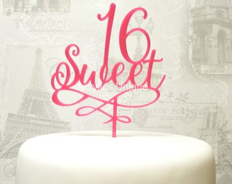 Sweet 16 birthday cake topper, acrylic celebration cake topper. Various colours available.