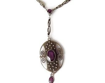 Arts & Crafts Jugendstil Theodor Fahrner Silver Amethyst necklace, Fine jewellery, Gift for Her