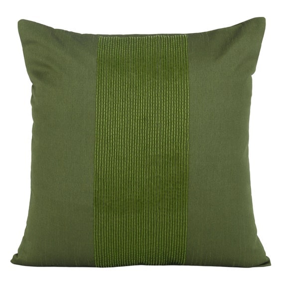 Items similar to Moss Green Decorative Pillow Cover Green Beaded Throw Pillow Green Accent ...