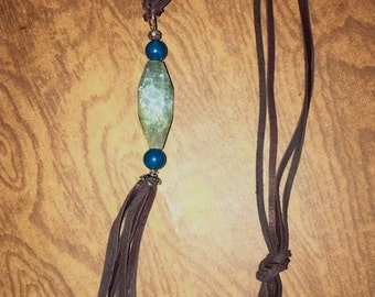 Sold - Green Moss Agate Tassel Necklace- SOLD!
