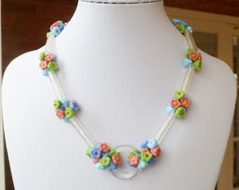 Vintage Art Deco Czech Glass Flower Necklace. 1930's Multi Coloured Glass Beads Choker Necklace.