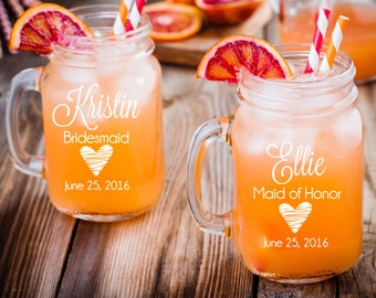 Set of 8- bridesmaid mason jars- bridal mason jars- mason jar with handle- wedding mason jar-personalized mason jar