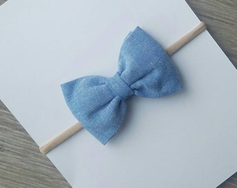 fabric jean bow, chambray jean bow, light blue bow, fabric blue bow, fabric bow, light colored Jean bow