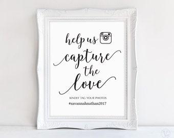"Wedding Hashtag Sign, Capture the Love Hashtag Sign, 8""x10"", DIY Printable Wedding Sign, Modern Calligraphy, VW10"