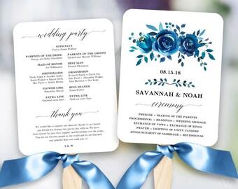 Blue Floral Wedding Program Fan Template, Printable Fan Wedding Programs, Wedding Fans, Editable text, Indigo Floral