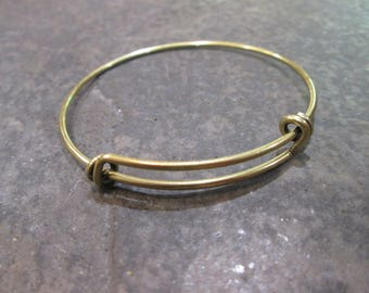 Antique Bronze Smaller Size expandable wire bangle bracelet blanks Double Loop Style Perfect for smaller size wrists