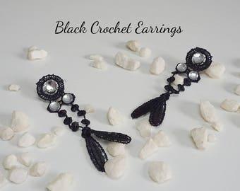 Black Crochet and Gems Earrings