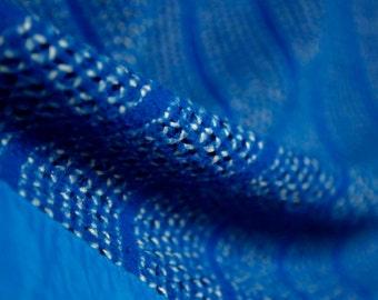 Royal blue striped Chatham acrylic woven eyelet blanket (twin) or throw blanket / royal blue satin trim