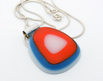 Handmade Fused Glass Pendant with 18 inch .925 Sterling Silver (not plated) 1mm thick fine snake chain.