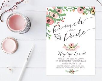 Bridal Shower Invitation, Floral Bridal Shower Invitation, Brunch Invitation, Bridal Shower Brunch, Brunch with the Bride Invitation [280]